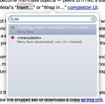 choosing a user-defined snippet, in TypeMetal's completion UI