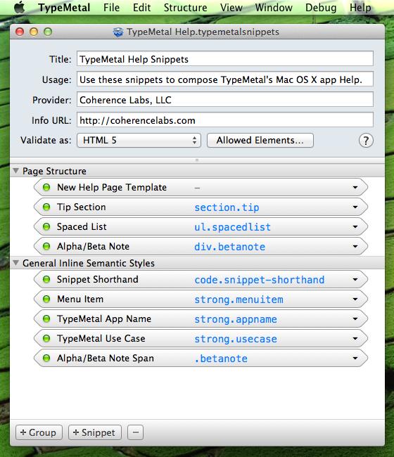 a window showing TypeMetal Help Snippets opened in TypeMetal